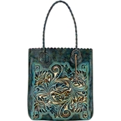 Patricia Nash Turquoise Leather Cavo Tote