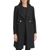 Karl Lagerfeld Paris Wool Blend Long Military Coat