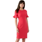 Calvin Klein Solid Sheath with Flutter Sleeve
