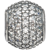 Nomades Sterling Silver Petite Clear Pave Gem Charm Spacer