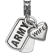 Nomades Sterling Silver Army Dog Tag with Wife Charm