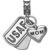 Nomades Sterling Silver Air Force Dog Tag with Mom Charm