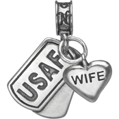 Nomades Sterling Silver Air Force Dog Tag with Wife Charm