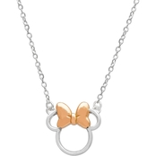 Disney Sterling Silver Minnie Necklace with Rose Gold Tone Bow