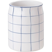 Landon Black and White Wastebasket
