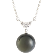 Blue Lagoon By Mikimoto 14K Gold Black South Sea Pearl Diamond Accent Necklace