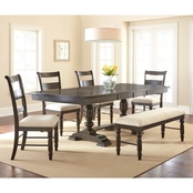Steve Silver Hester Dining Table and Double Pedestal Trestle Base