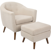 LumiSource Rockwell Mid Century Modern Accent Chair and Ottoman 2 pc. Set