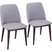 LumiSource Tintori Grey Fabric Dining Chair 2 pk.