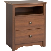 Prepac 2 Drawer Nightstand with Open Shelf