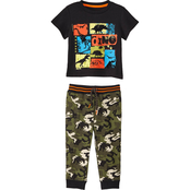 Gumballs Toddler Boys Flocking Dino Graphic Tee and Joggers 2 pc. Set