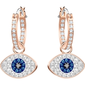 Swarovski Rose Gold Plated Duo Evil Eye Hoop Pierced Earrings