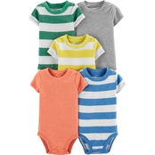 Carter's Infant Boys Stripe and Solid Bodysuits Assorted 5 pk.