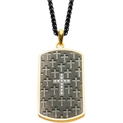 INOX Black Gold DogTag Cross Pendant 24 in.