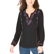 Style & Co. Petite Floral Embroidered Top