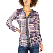Style & Co. Petite Plaid Split Neck Shirt