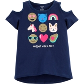 Carter's Little Girls Good Vibes Emoji Tee<br/>