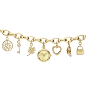 Anne Klein Women's Goldtone Swarovski Crystal Charm Bracelet Watch 17mm 10-7604CHRM