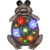 Alpine Solar Polyresin Frog Statue with Flower