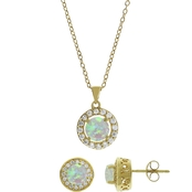 Gold Over Silver, Created Opal With White Topaz Pendant And Earrings Set