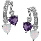 Sterling Silver Created Opal and Amethyst Diamond Accent Earrings
