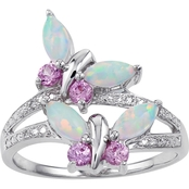 Sterling Silver Created Opal and Created Pink Sapphire Ring