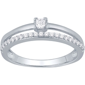 10K White Gold 1/4 CTW Diamond Love Honor Cherish Fashion Ring