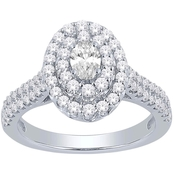 10K White Gold 1 CTW Diamond Love Honor Cherish Fashion Ring