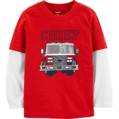 Carter's Toddler Boys Firetruck Layered Look Tee