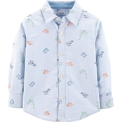 Carter's Toddler Boys Dinosaur Oxford Button Front Shirt