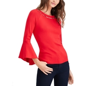 INC International Concepts Bead Neck Bell Sleeve Top