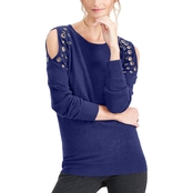 INC International Concepts Embellished Cold Shoulder Top