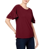 INC International Concepts Ruffled Sleeve Top