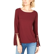 INC International Concepts Embellished Sleeve Tee