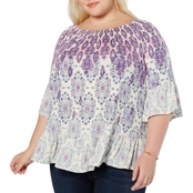 Style & Co Plus Size Printed Bell Sleeve Top