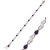 14K Rose Gold Over Sterling Silver Amethyst and Lab Created White Sapphire Bracelet