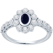 Sterling Silver Lab Created Blue Sapphire and Lab Created White Sapphire Ring