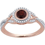 14K Rose Gold Over Sterling Silver Garnet and Lab Created White Sapphire Ring