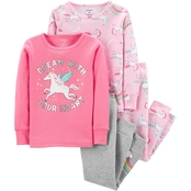 Carter's Infant Girls 4 pc. Dream With Your Heart Unicorn Pajamas