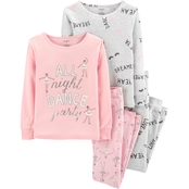 Carter's Little Girls All Night Dance Party 4 pc. Pajama Set