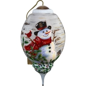 Precious Moments Winter Birch Snowman Ornament