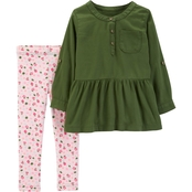 Carter's Infant Girls Sateen Top and Rose Leggings 2 pc. Set