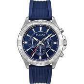 Bulova Men's Chronograph Blue Dial Watch with Blue Silicone Strap 96A214