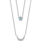 Disney Enchanted Silver Diamond & Swiss Blue Topaz Jasmine Moon and Star Necklace