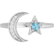 Disney Enchanted Diamond Chip and Swiss Blue Topaz Jasmine Moon and Star Ring