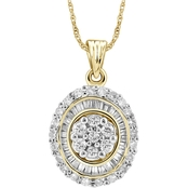 10K Yellow Gold 1/2 CTW Genuine Baguette and Round Cut White Diamonds Oval Pendant