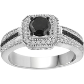 Sterling Silver 1 CTW Black and White Diamond Bridal Ring, Size 7