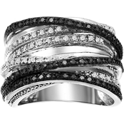 She Shines Sterling Silver 1/2 CTW Black and White Diamond Crossover Ring