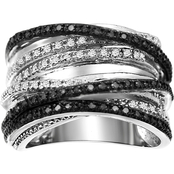 Sterling Silver 1/2 Carat Black & White Diamonds Crossover Ring