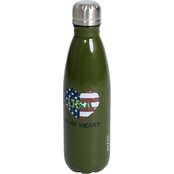 Pure Drinkware Patriotic USA Heart Green 17 oz. Bottle